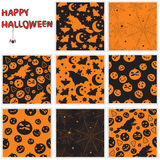 Halloween seamless patterns. Collection of halloween seamless patterns Stock Images