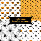 Halloween. Seamless patterns. Collection. Halloween collection. Set of spooky seamless patterns Stock Image