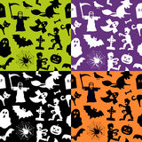 Halloween Seamless Patterns. A seamless pattern with Halloween elements, in four different versions. Useful also as design element for texture, pattern or gift Royalty Free Stock Images
