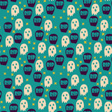 Halloween seamless patterns. Halloween seamless pattern with ghosts and graves. Childish background. Hand drawn holiday design for fabric, wrapping paper Royalty Free Stock Photo