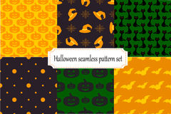 Halloween seamless patterns set. Collection of seamless halloween patterns. Vector illustration vector illustration