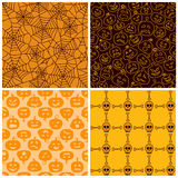 Halloween seamless patterns. Set of four Royalty Free Stock Photos