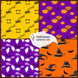 Halloween seamless patterns set with hats, pumpkins, ghosts, bat. Halloween seamless patterns set with ghosts,  hats, pumpkins, bats spiders Stock Images