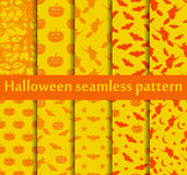 Halloween seamless patterns set. Pattern with Lamp Jack, Bats and witch. Halloween symbols. Vector Stock Photography