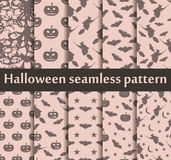 Halloween seamless patterns set. Pattern with Lamp Jack, Bats and witch. Halloween symbols. Vector Royalty Free Stock Photography