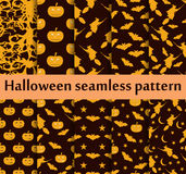 Halloween seamless patterns set. Pattern with Lamp Jack, Bats and witch. Halloween symbols. Vector Royalty Free Stock Photos