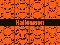 Halloween seamless patterns set. Scary faces, jack-o-lantern pumpkin icon. Vector stock illustration
