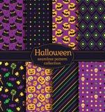 Halloween Seamless Patterns. Vector Set. Royalty Free Stock Image