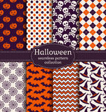 Halloween seamless patterns. Vector set. Stock Images