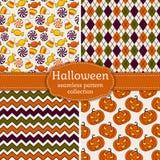Halloween seamless patterns. Vector set. Stock Photo