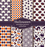 Halloween seamless patterns. Vector set. Stock Photos