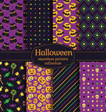 Halloween seamless patterns. Vector set. Royalty Free Stock Image