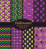 Halloween seamless patterns. Vector set. Happy Halloween! Set of seamless backgrounds with bats, pumpkins, skulls, spiders, web, ghosts and abstract geometric Stock Photography