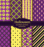 Halloween seamless patterns. Vector set. Stock Image