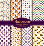 Halloween seamless patterns. Vector set. Stock Images