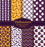 Halloween seamless patterns. Vector set. Happy Halloween! Set of seamless backgrounds with pumpkins, skulls, gloomy owls, bats, ghosts and abstract geometric Stock Photo