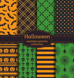 Halloween seamless patterns. Vector set. Royalty Free Stock Photography