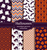 Halloween seamless patterns. Vector set. Royalty Free Stock Images