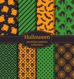 Halloween seamless patterns. Vector set. Royalty Free Stock Photos