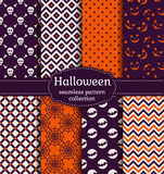 Halloween seamless patterns. Vector set. Royalty Free Stock Photo