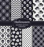 Halloween seamless patterns. Vector set. Happy Halloween! Set of seamless patterns with traditional holiday symbols: skulls, bats, pumpkins, black cats and web Royalty Free Stock Photos