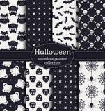 Halloween seamless patterns. Vector set. Happy Halloween! Set of seamless patterns with traditional holiday symbols: skulls, bats, pumpkins, ghosts, owls Royalty Free Stock Photography