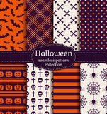 Halloween seamless patterns. Vector set. Happy Halloween! Set of seamless patterns with traditional holiday symbols: skulls, bats, pumpkins, spiders and web Stock Photography