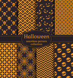 Halloween seamless patterns. Vector set. Happy Halloween! Set of seamless patterns with traditional holiday symbols: skulls, bats and web. Collection of Stock Images
