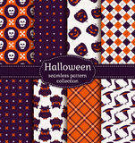 Halloween seamless patterns. Vector set. Stock Photo