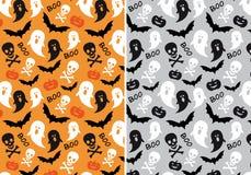 Halloween seamless patterns, vector. Halloween seamless patterns with skulls, bats and pumpkins, vector set Stock Photo