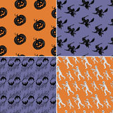 Halloween seamless set with characters Royalty Free Stock Photography