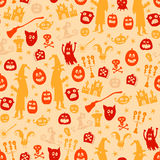 Halloween seamless silhouette doodle pattern. Stock Photos