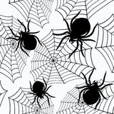 Halloween seamless with spiders and a web vector illustration