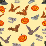Halloween Seamless texture  bat pumpkin and  castle vector Stock Images
