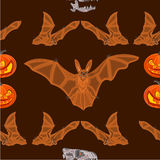 Halloween Seamless texture  bat pumpkin and  skull vector Royalty Free Stock Photography