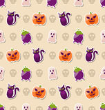 Halloween Seamless Texture with Colorful Flat Icons Stock Photos