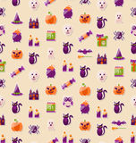 Halloween Seamless Texture with Colorful Flat Icons Royalty Free Stock Photos