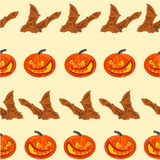Halloween Seamless texture  pumpkin and bat vector Royalty Free Stock Photography