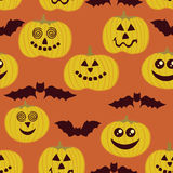 Halloween seamless texture with pumpkin and bats Royalty Free Stock Image