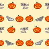 Halloween Seamless texture  pumpkin and  skull vector illustration Stock Photo