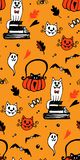 Halloween seamless vector background with cats, bats, spiders. royalty free illustration