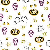 Halloween seamless vector pattern with ghosts, skulls, pumpkin and candy corn elements Stock Photography