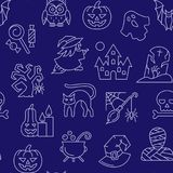 Halloween seamless white line pattern vector illustration