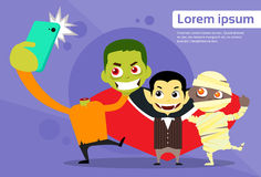 Halloween Selfie Photo Smart Phone Cartoon Vampire Stock Photo