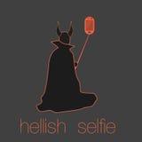 Halloween-selfie Teufel Lizenzfreie Stockfotos
