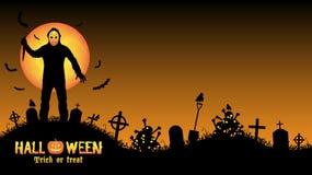 Halloween serial killer in a graveyard Stock Image