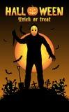 Halloween serial killer in a graveyard Stock Photography