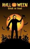 Halloween serial killer in a graveyard Stock Images