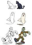 Halloween set 2. Cartoon style halloween set. Color and black and white. Vector size available Royalty Free Stock Images