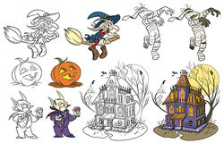 Halloween set 2. Cartoon style halloween set. Color and black and white. Vector size available Stock Photos